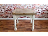 Painted Extending Rustic Reclaimed Farmhouse dining Kitchen Table Extendable -3 ft - 6 ft