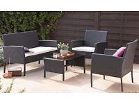 Designer Outdoor Black Rattan 4-Piece Sofa Set NEW