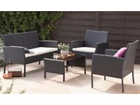 Quality Outdoor Black Rattan 4-piece sofa set NEW