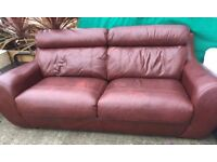 2 x Brown real leather sofa