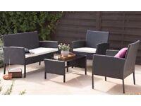 Quality Outdoor Black Rattan 4-piece sofa set NEW