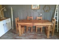 Pine farmhouse table shabby chic rustic