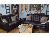 Chesterfield Vintage Leather 3 Seater & 2 Seater Sofas Dark Brown