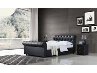 Luxury sleigh bed - hand made - buttoned head & foot side - includes mattress - delivered