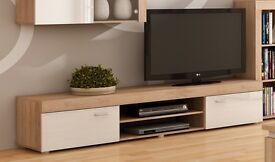 2 Metre Large 2 Door TV Cabinet In Sonoma Oak/White *NEW*