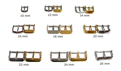 Watch Band Buckle - Silver or Gold Tone - 10 mm to 26 -