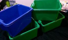 35L storage play boxes coloured X 5