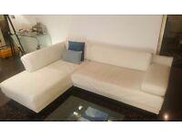 Habitat Scala White Leather corner sofa