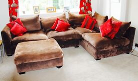 Large Frank Knighton Fabio Chocolate Brown Corner Suite and Footstool