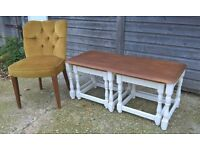 Oak Coffee Table Nest of Slide in Side Tables ~ Priory Company Cream Chalk Vintage Shabby Chic Charm