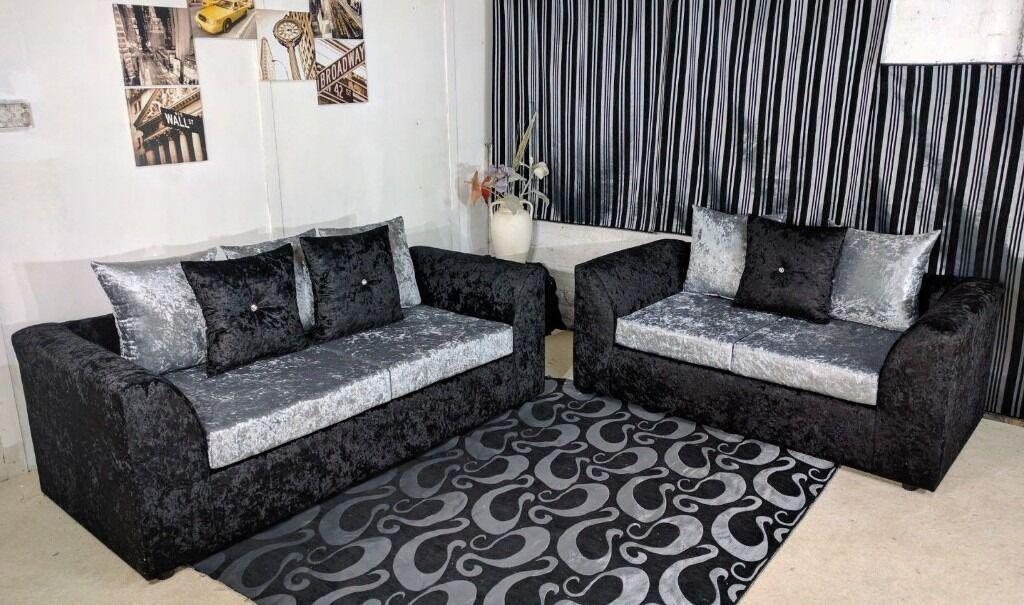 New Crushed Velvet 3 U0026 2 Sofa Suite Set In Black Silver Color   Furniture