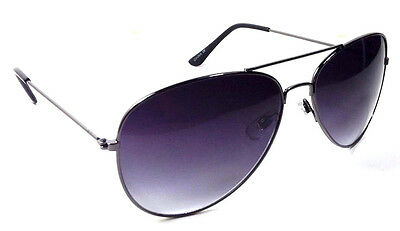 GUNMETAL PILOT AVIATOR SUNGLASSES BLACK SMOKE LENS POLICE CLASSIC CASUAL RETRO