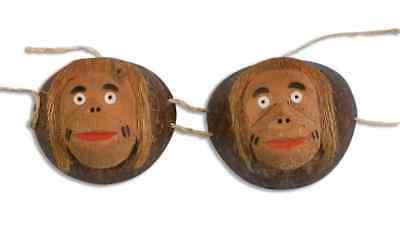 Coconut Monkey Bra Top Hawaiian Luau Fancy Dress Up Halloween Costume Accessory