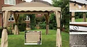 3m Outdoor gazebo waterproof canopy complete with curtains Mocha & Cream NEW