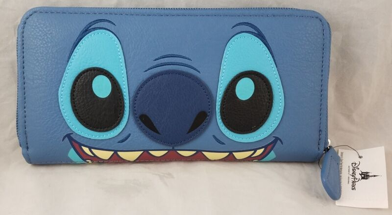 Disney Parks Loungefly Stitch Face Lilo Blue Zip Wallet - NEW