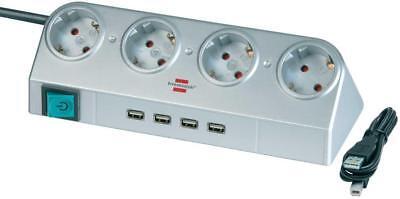Brennenstuhl Desktop-Power Steckdosenleiste 4-fach mit 4x USB-2.0-Lader silber - 4 Fach Desktop