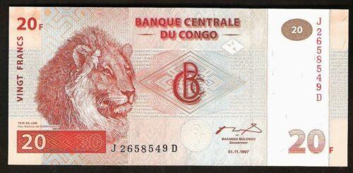 Congo 20 Francs 1997 UNC Lion