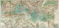 1898= Mar Mediterraneo = Antica Mappa = Old Map -  - ebay.it