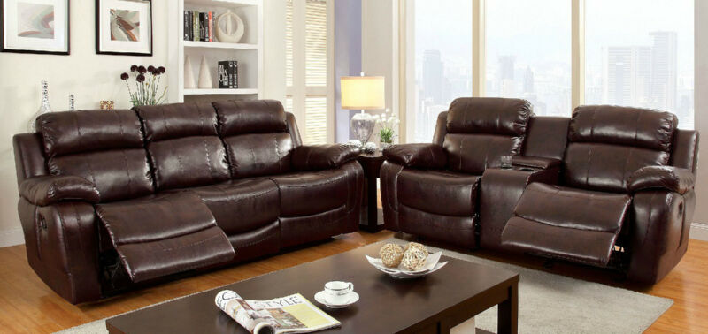 2 Pc Large Padded Arms Dark Brown Bonded Leather Motion Sofa Transitional Set