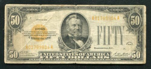 FR. 2404 1928 $50 FIFTY DOLLARS GOLD CERTIFICATE CURRENCY NOTE