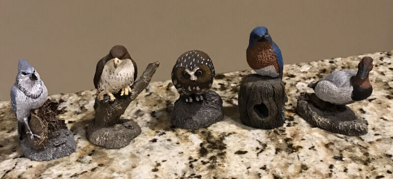 Vintage Lot 5 Charles Earnhardt Bronze Wildlife Bird  Figurines Cold Bronze Cast