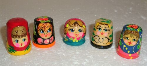 Beautiful Russian Wooden Hand painted SET OF FIVE THIMBLES ~ NEW