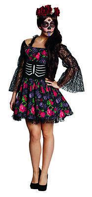La Catrina Halloween Sexy Horrorkleid Rosenhexe Kostüm für (Catrina Kostüm Halloween)