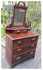 Edwardian Victorian Dressing Table with Mirror