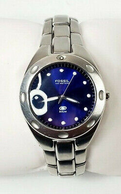 FOSSIL Blue 40mm Men's Silver Stainless Bracelet Watch Blue Dial AM3319 WORKS!