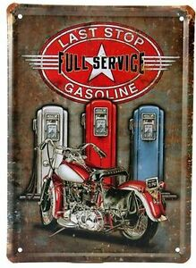 Vintage Inspired Last Stop-Full Service- Gasoline- Tin Wall Art
