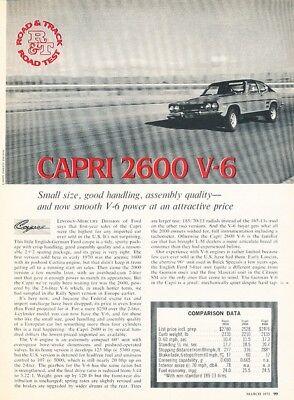 1972 Ford Mercury Capri 2600 V6 Original Car Review Report Print Article K09 Review Mercury Capri