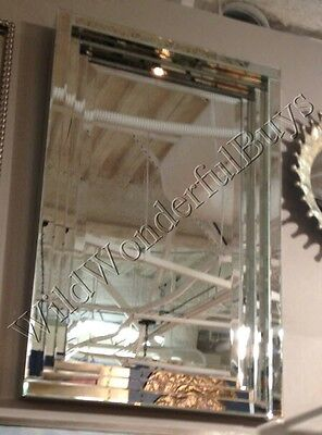Frameless Stepped Wall Mirror Beveled Silver Parisian Bathroom Venetian Ashton