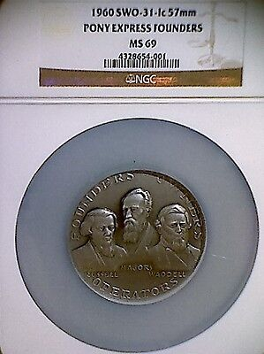 1960 SILVER PONY EXPRESS FOUNDERS MEDAL!! NGC GRADED MS-69!!! VERY RARE!!