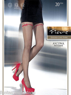 Ascona Sheer Pantyhose by Fiore with red ribbon pattern fashion 20 den - Sheer Red Tights