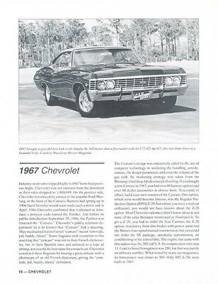 1967 Chevrolet Camaro Chevelle Impala SS Car Review Report Print Article K07