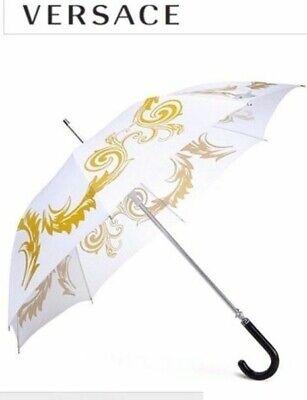 Versace BNWT Gorgeous  Medusa Executive Large Umbrella White & Gold