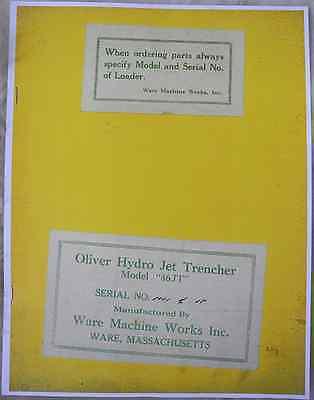 Ware Model 46jt Backhoe Operators Parts Manual Oliver Oc-46 Crawler Loader