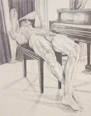 """9"""" x 12"""" drawing print nude male reclined at the grand piano gay interest"""