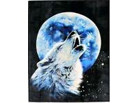 Moonlight Wolf plush large throw