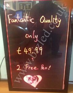 LED Clear Fluorescent Sign Menu Board Neon Writing Glass Board Iluminated Colour