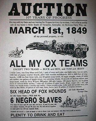 "(055) SLAVERY NEGROE SLAVE AUCTION KENTUCKY OXEN 11""x14"""
