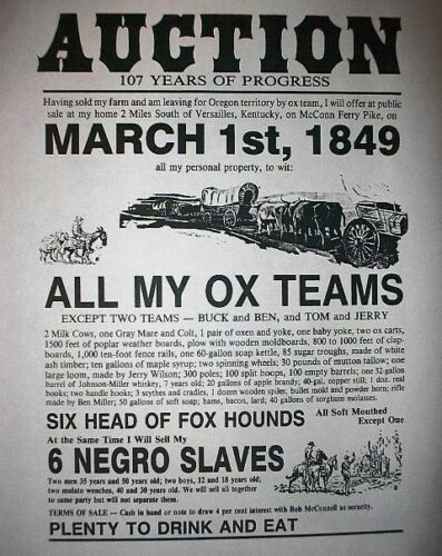"(243L) SLAVERY ADVERT NEGROE SLAVE AUCTION KENTUCKY OXEN REPRINT POSTER 11""x14"""