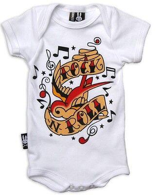 Six Bunnies Baby Onesie White Rock N Roll Romper Rockabilly Punk Tattoo 6-12m Rock Roll Baby Onesies