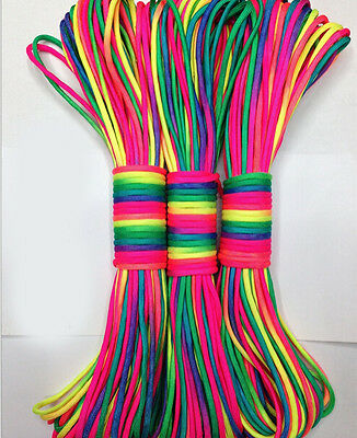 Rainbow Paracord (100FT RainBow Color 550 Paracord Rope 7 strand Parachute Cord CAMPING HiKING)