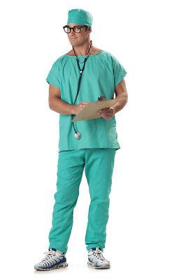 Doctor Scrubs Men Hospital Nurse Gown Adult Costume](Nurse Scrubs Costume)