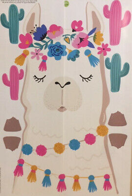 LLAMA HEAD & CACTI wall stickers 10 decals western themed room decor cactus (Home Decor Themes)