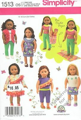 """Pattern Simplicity Sewing 18"""" inch Doll Clothes Summer 2014 Crop Top Capris New"""