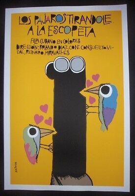 CUBAN Silk-screen Movie Poster with Love Birds Attacking Hunter's Gun / Cuba Art