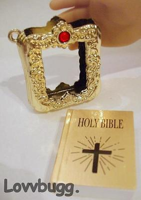 "Real Bible Mini Gold Case Red Stone for 18"" American Girl Doll Accessory"