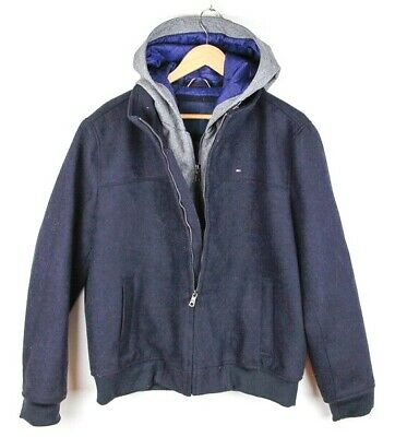 Tommy Hilfiger Jacket Outdoors Hooded Quilt Lined Winter Coat Navy with Grey - M (Tommy Hilfiger Quilts)